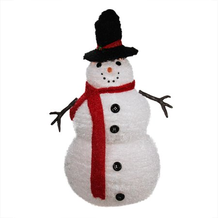 Christmas Decorations Outdoors (4' Lighted 3-D Chenille Winter Snowman with Top Hat Outdoor Christmas)