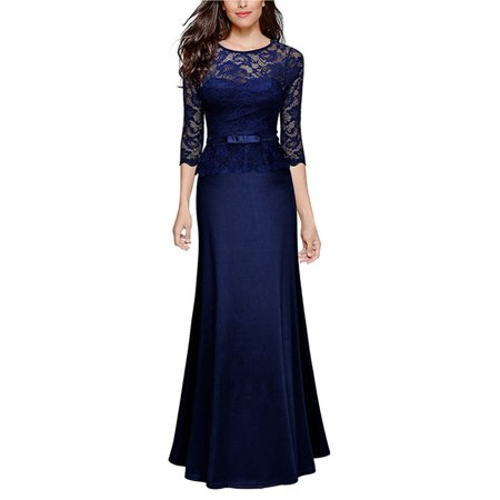 Women Vintage Lace Maxi Dress 3/4 Sleeve Slim Cocktail Formal Evening Ball Gowns Party Prom Bridesmaid Wedding - Impressions Bridal Prom