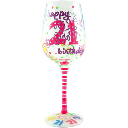 Stonebriar Top Shelf 21st Birthday Wine Glass (Birthday Girl Wine Glass)