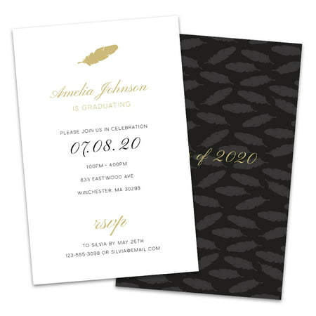 Personalized Gold Feather Graduation Invitations](Black And Gold Invitations)