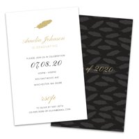 Personalized Gold Feather Graduation Invitations