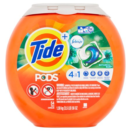 Tide Pods Plus Febreze Odor Defense Laundry Detergent Pacs  Botanical Rain Scent  54 Count