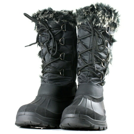 OwnShoe Women's Lace Up Faux Fur Rubber Duck Snow Boots ()