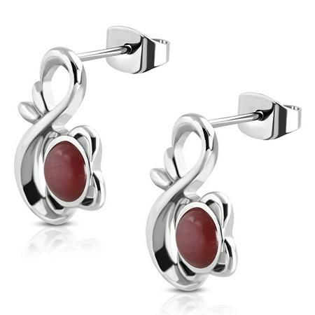 Stainless Steel Floral Infinity Figure 8 Round Cabochon Scarlet Red Cat Eyes Stone Stud Post Earrings (Cat Eye Stud)