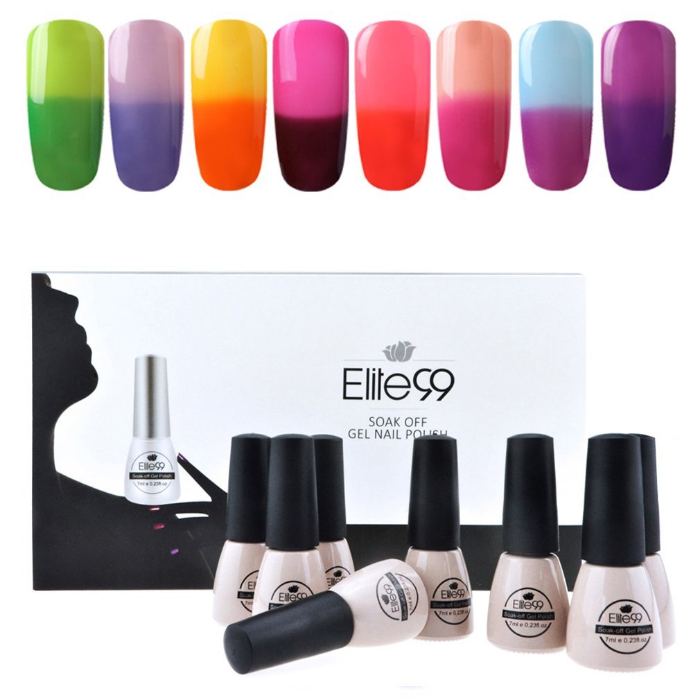 Elite99 Temperature Color Changing Gel Nail Polish Kit 8 Colors, Soak Off UV LED Nail Polish Set Nail Art C046