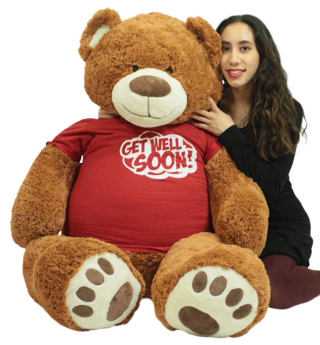 Get Well Soon Giant Teddy Bear 5 ft Soft 60 Inch, Wears Removable T-shirt Get Well Soon, Cookie Dough Color by BigPlush