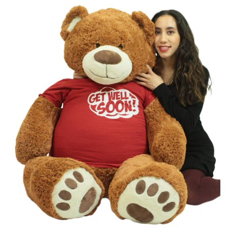 Get Well Soon Giant Teddy Bear 5 ft Soft 60 Inch, Wears Removable T-shirt Get Well Soon, Cookie Dough (Get Well Bear)