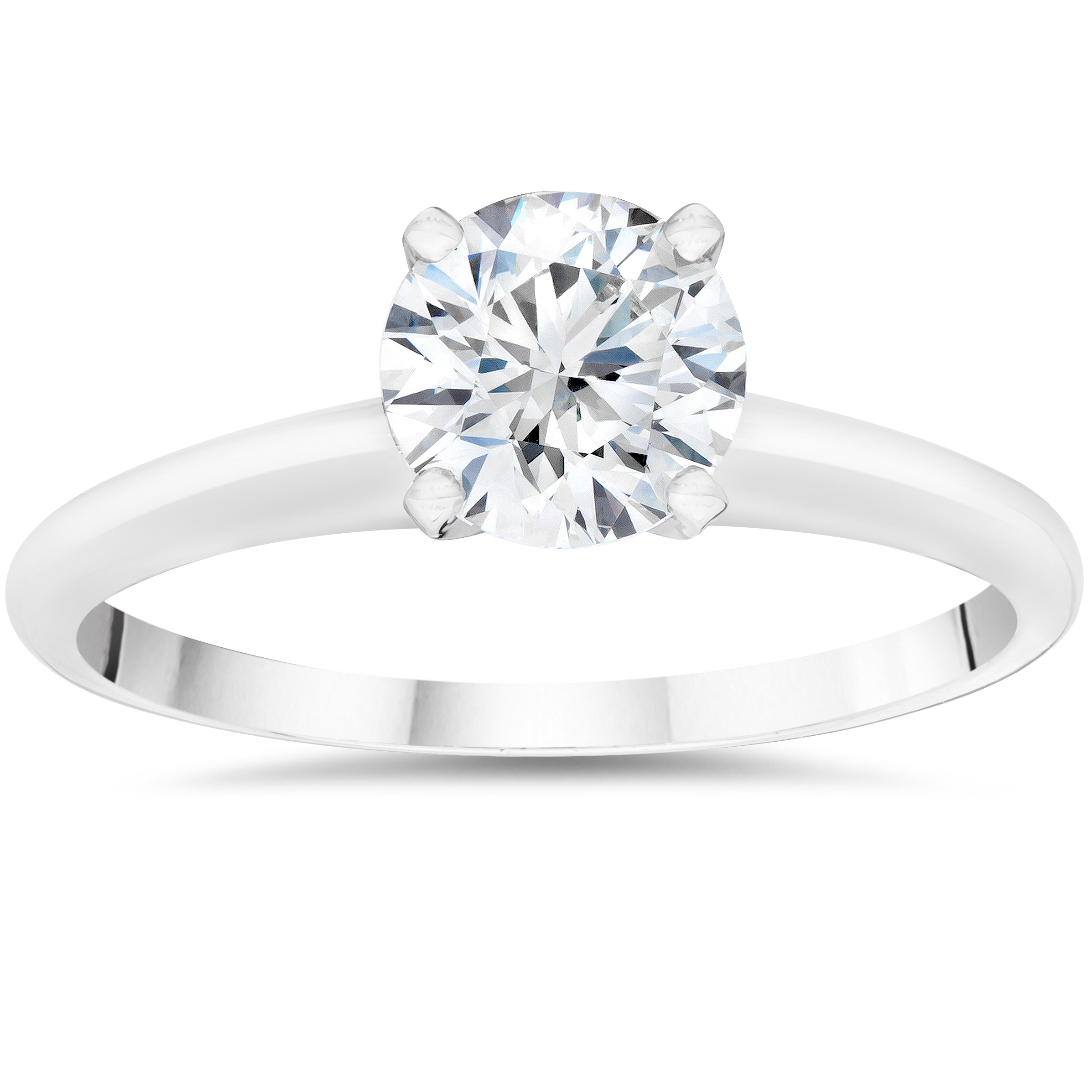 5/8ct Solitaire Round Diamond Engagement Ring 14K White Gold