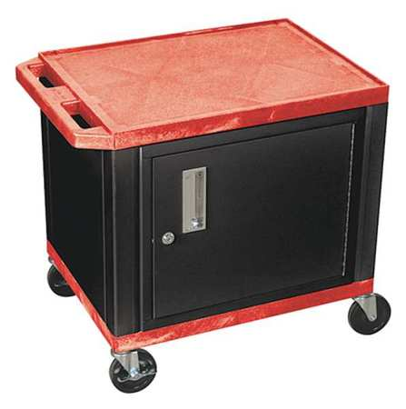 WT26CE-B RED Audio-Visual Cart, 150 lb., Red, 18 In. L