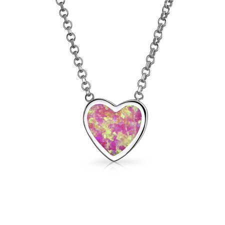 - Small Simple Bezel Pink Created Opal Slide Heart Shape Pendant Necklace For Women For Teen 925 Sterling Silver