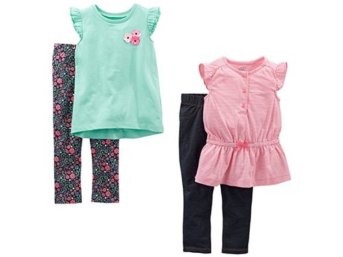 3T Simple Joys by Carters Girls Toddler 3-Piece Playwear Set Floral