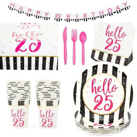 Serves 24 Hello 25 25th Birthday Party Supplies, 146PCS Plates Napkins Cups, Favors Decorations Disposable Paper Tableware Kit Set for Women Serve Kitchen Set