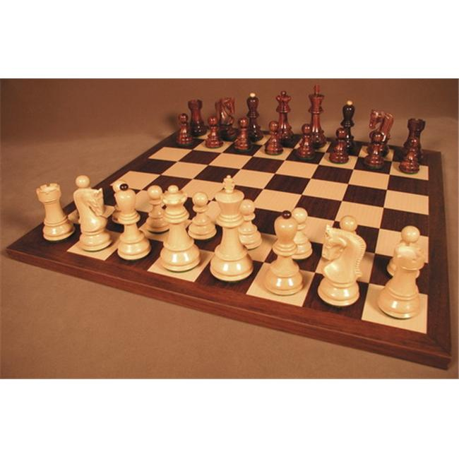 WW Chess 37RO-DR Rosewood Old Russian Chessmen on Dark Rosewood Chess Board by WW Chess