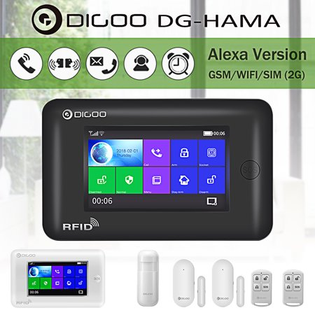DIGOO DG-HAMA Touch Screen 433MHz GSM WIFI DIY Smart Home Burglar Security Alarm Alert System Accessories,Auto Dial Call SMS Message Push,Phone APP Control PIR Window Door (Best Wifi Analyzer App)