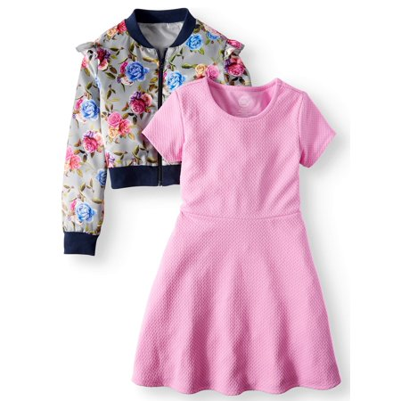 Dress and Floral Satin Bomber Jacket, 2-Piece Outfit Set (Little Girls & Big - Little Dress Up Shop Coupon Code