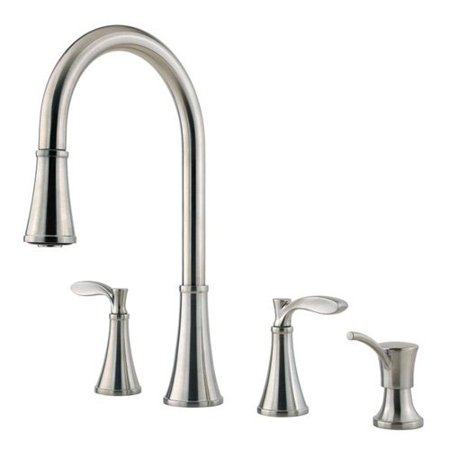 Pfister Petaluma F531-4PAS Double Handle Kitchen Faucet with Pull Down Spray