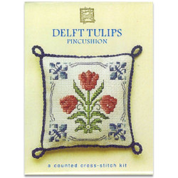 Textile Heritage Pincushion Counted Cross Stitch Kit - Delft Tulips