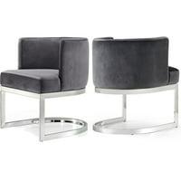 """Meridian Furniture Gianna 19.5""""H Velvet Dining Chair in Gray"""