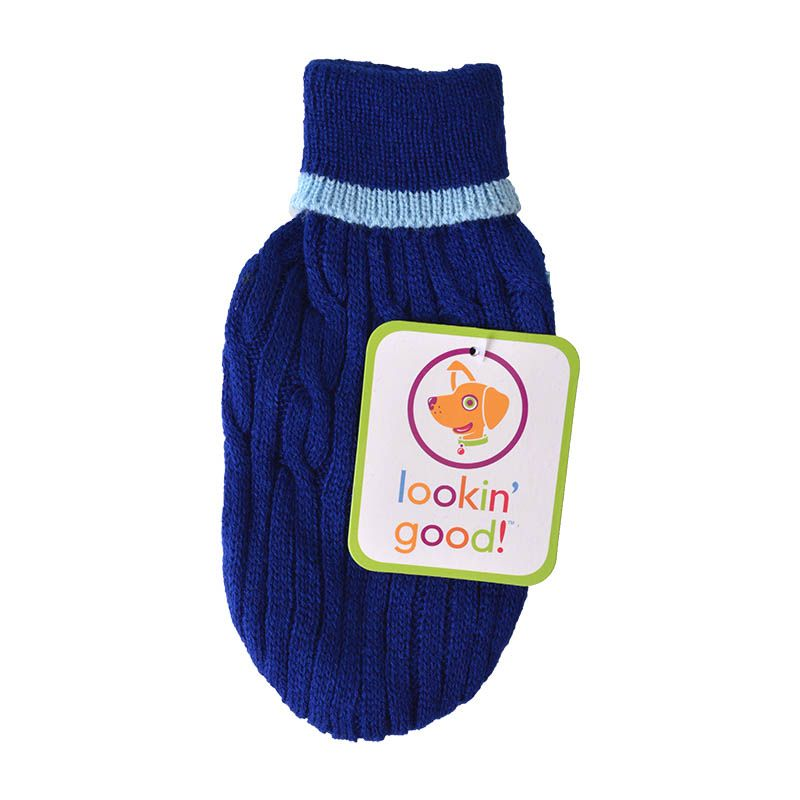 "Fashion Pet Cable Knit Dog Sweater - Blue XX-Small (6""-8"" From Neck Base to Tail)"