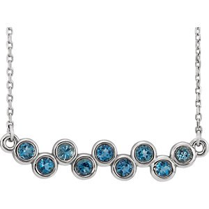 Jewels By Lux 14k White Gold Aquamarine Bezel Set Bar 16-18