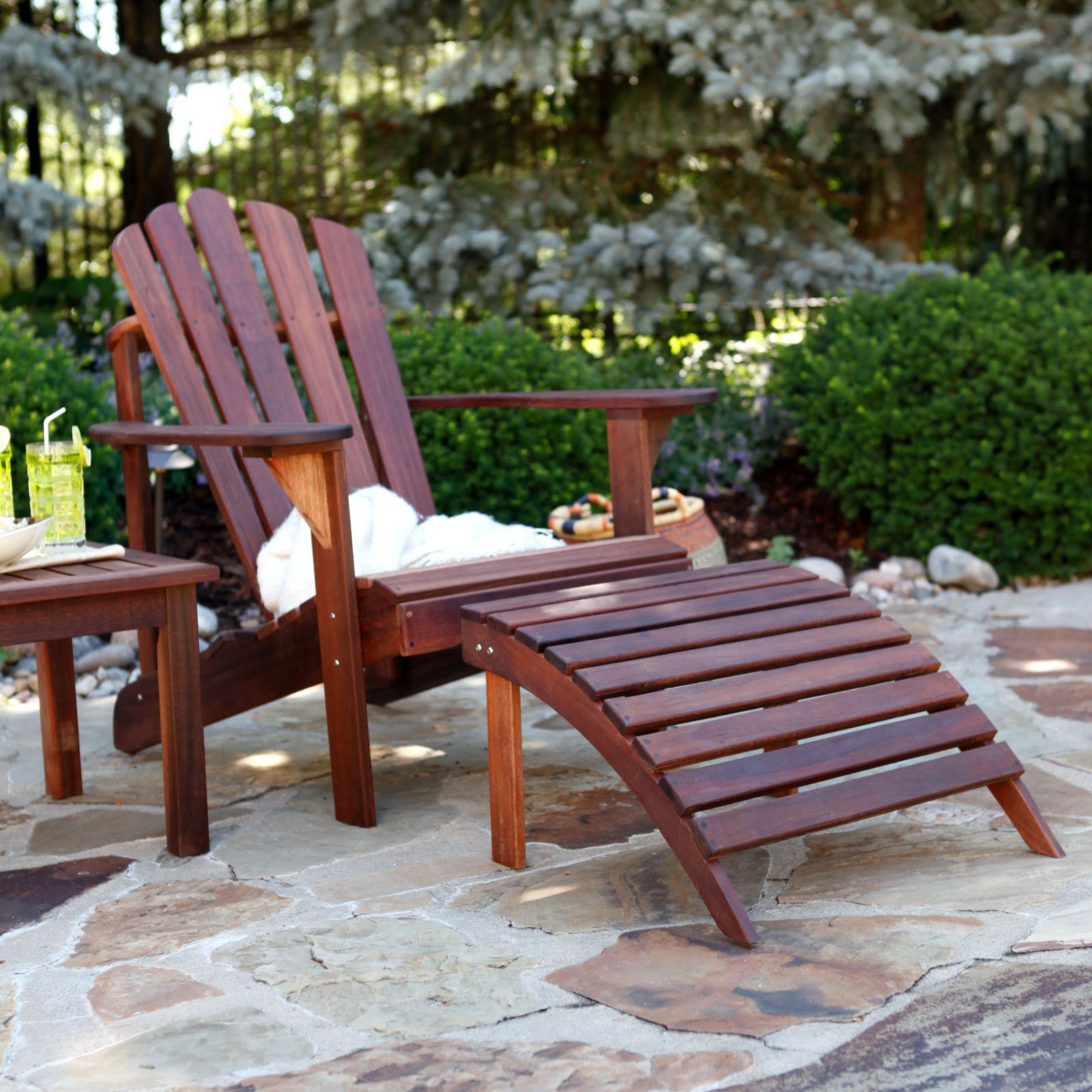 Attirant Belham Living Richmond Deluxe Adirondack Chair And Ottoman With Side Table  3 Piece Set