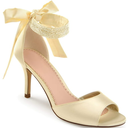 - Women's Satin Rhinestone Ankle Strap Open-toe High Heels