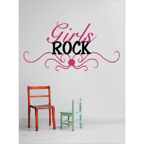 Design With Vinyl Girls Rock Wall Decal