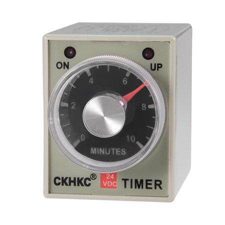 DC 24V 10M 8 Terminals Range Adjustable Delay Timer Time Relay AH3-3