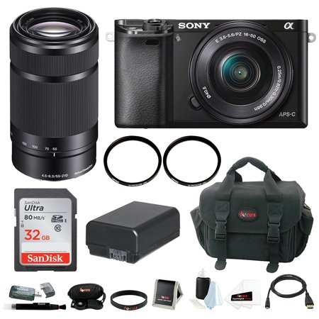 Sony a6000 Camera with 16-50mm Power Zoom Lens + Sony E 55-210mm E-Mount  Lens + Accessory Bundle