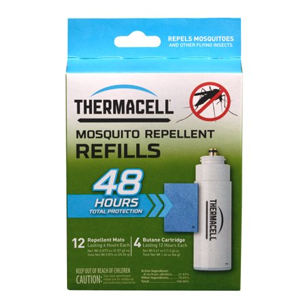 Windproof Water Repellent - Thermacell Mosquito Repellent Refills, 48-Hour Pack; Contains 12 Mats and 4 Fuel Cartridges