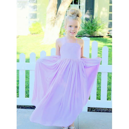 caa3e70937c Ekidsbridal Criss-Cross Chiffon Flower Girl Dress Junior Bridesmaid Dress  Graduation Dress Prom Dress Evening Gown Princess Dresses Pageant Gown  Birthday ...