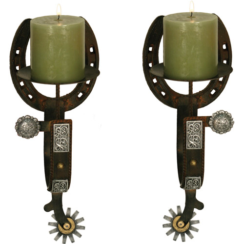 Rivers Edge Products Cast Iron 2-Piece Candle Holder Set