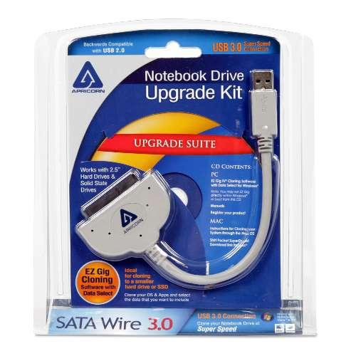 "Apricorn Notebook Hard Drive Upgrade Kit - USB 3.0 Interface, Works with Any 2.5"" SATA Drive & SSD, Cloning Hard Drive S"
