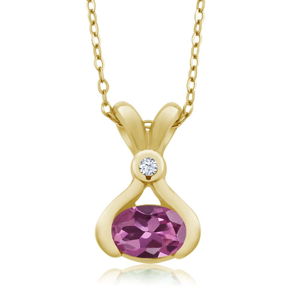 0.74 Ct Oval Pink Tourmaline AA White Topaz 18K Yellow Gold Pendant by