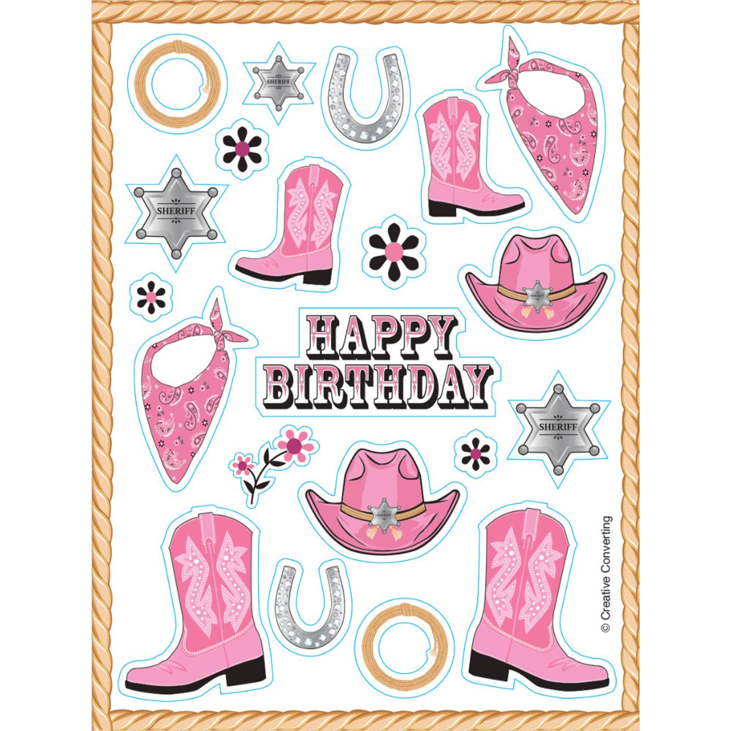 """Club Pack of 48 Pink Bandana Cowgirl Value Sticker Sheets 6"""""""