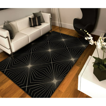 Orian Rugs Illusion Black Area Rug Walmart Com