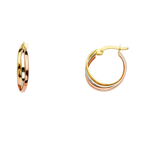 Jewels By Lux 14K White Yellow And Rose Gold Three Line Twisted Hoop Womens Earrings 16MM X 16MM