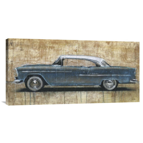 Global Gallery 'Vintage Blue' by Dario Moschetta Painting Print on Wrapped Canvas