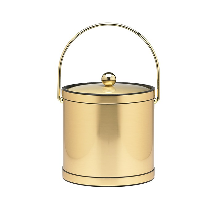 Kraftware Mylar Brushed Brass 3-Quart Ice Bucket with Brass Bale Handle, Band...