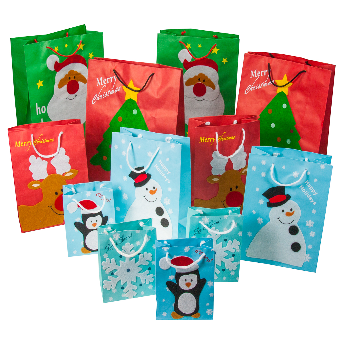 12pc set christmas gift bags festive felt small santa snowman penguin bulk lot