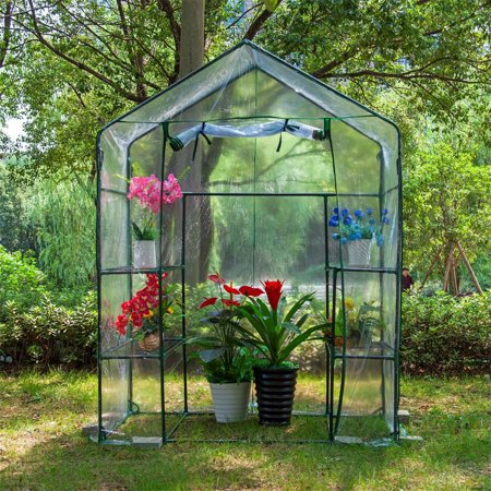 Mini Walk-in Greenhouse Indoor Outdoor -2 Tier 4 Shelves- Portable Plant Gardening Greenhouse (56L x 28W x 76H Inches), Grow Seeds & Seedlings, Herbs Flowers or Tend Potted Plants - image 1 of 4