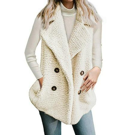 Women Faux Fur Warm Sleeveless Casual Fashion Vest Fleece Outwear Lapel Thick Top Parka Open Front Winter Cardigan Coat Jacket