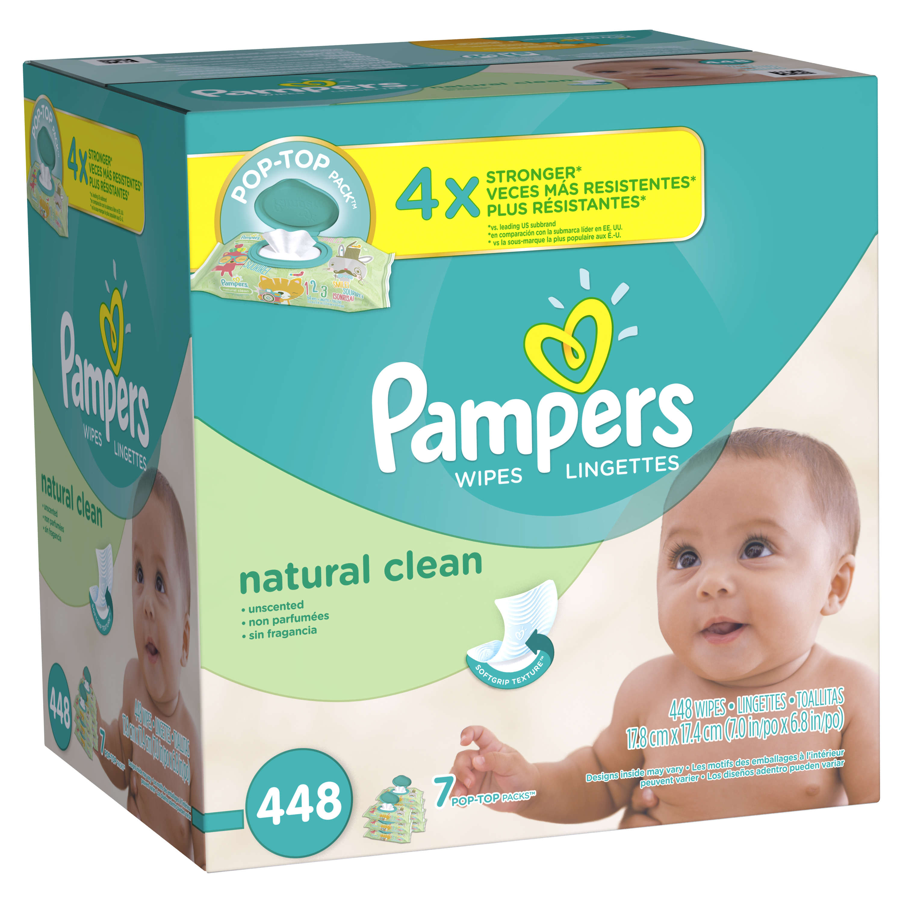 Pampers Natural Clean Baby Wipes, Unscented, 7 Pop-Top packs of 64 (448 count)