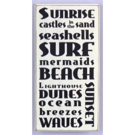 Surf Decor Sign Hanging (Beach Words Surf Sunset Ocean Breezes Distressed Wood 11.75 Inch Sign Wall)