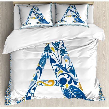 Letter A Queen Size Duvet Cover Set, Abstract Geometric Frame with the Letter A Swirls Leafs and Flowers Print, Decorative 3 Piece Bedding Set with 2 Pillow Shams, Blue Yellow Orange, by Ambesonne