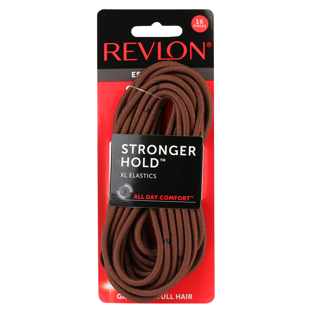 (2 Pack) Revlon Extra Large Brown Hair Elastics, 16 Count