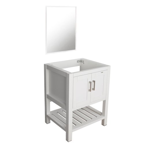 Eclife Bathroom Vanity Without Sink 24 Inches Modern Bathroom Storage Cabinet With Wall Mounted Mirror Shelf Wooden Countertop White Walmart Com Walmart Com