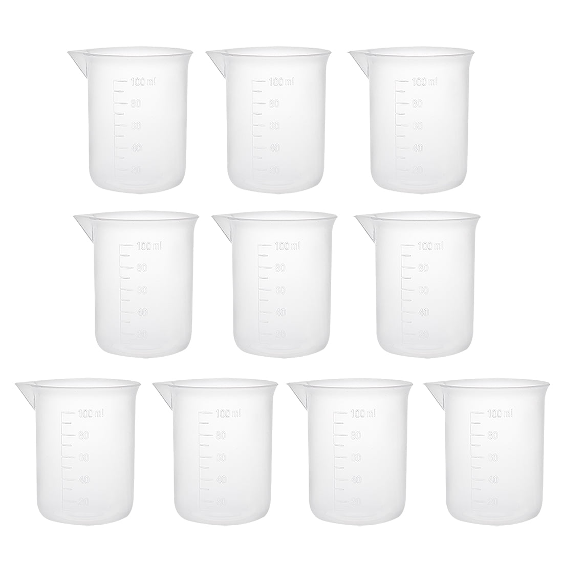 10pcs Measuring Cup Labs PP Graduated Beakers 100ml by Unique-Bargains