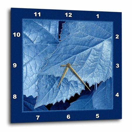3dRose Cobalt blue metallic leaves with royal blue frame, Wall Clock, 10 by 10-inch 12 In Blue Wall Clock