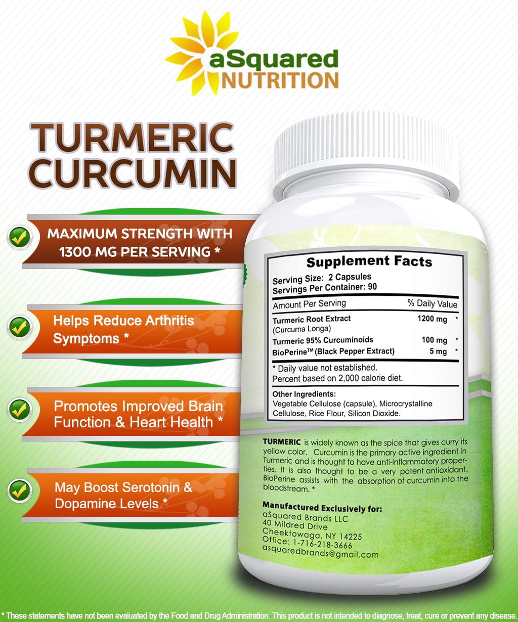 aSquared Nutrition Pure Turmeric Curcumin 1300mg with BioPerine Black  Pepper Extract -180 Capsules- 95% Curcuminoids, 100% Natural Tumeric Root  Powder